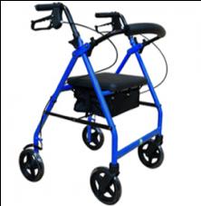 Andadera con ruedas,  bolsa y asiento de vinil